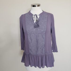 Knox Rose Size Medium Purple Lavender Top Blouse